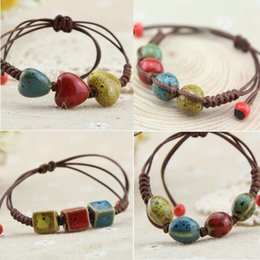 Wholesale National Ceramics - Wholesale-2015 Diy Cheap new Ethnic Fashion Handcrafted Chinese National Style Beads Ceramic Charm Bracelets For Women Jewelry Sl0079