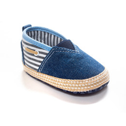 Wholesale Cloth Baby Shoes Boy - Baby shoes Babies kids stripe denim cloth shoes fit 0-1T spring autumn new Infant boys girls soft-soled comfortable prewalker T3878