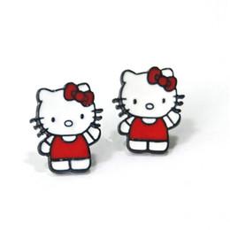 Wholesale Earrings Kitty Cat - 2018 fashion cartoon cat stud earrings red hello kitty earring women cute brincos fashion jewelry earrings wholesales