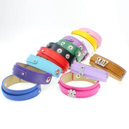 Wholesale Diy Bracelet Buckles - Fahion 50pcs 18*210+8mm PU copy Leather Buckle wristband DIY 8mm slide charm bracelets free shipping