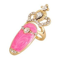 Wholesale Multi Color Stone Rings - The New Fashion Ring European And American Style Selling Multi-color Diamond Drop Oil Crown Jewelry Nail Ring