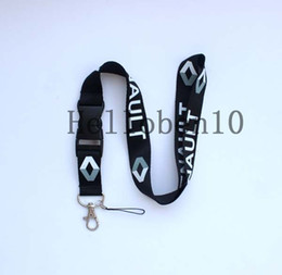 Wholesale renault badge - hot 100pcs black Renault Lanyard Strap Badge Running ipod Holder Detachable Keychain