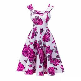 Wholesale Print Audrey - Audrey Hepburn Dress Plus size 2017 Fashion Retro Vintage 1950s 60s Floral Printed Robe Femme Women Big Swing Summer Dresses