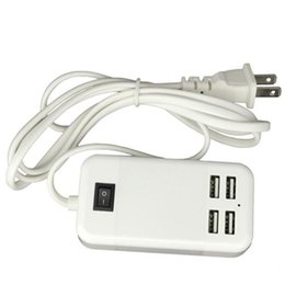 Wholesale Iphone Adapter Long - EU US UK plug 5V3A 4 Ports USB Wall Charger AC Power Adapter 1.5M long cable ON OFF Switch travel home Charger