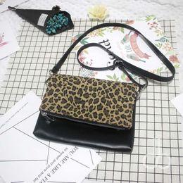 Wholesale Leopard Purses Envelope - Wholesale Blanks Leopard and PU Leather Patchwork Crossbody Bag Shoulder Purses Clutch Cheetah Bag DOM103642
