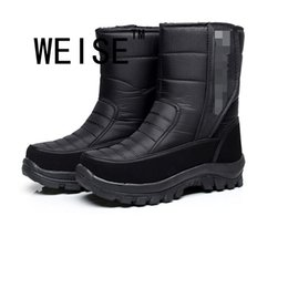 Wholesale Male Shoe Pad - Wholesale- Male Snow Boots In The Tube Warm Winter Plus Velvet Warm Cotton-Padded Shoes Men winter Boots Waterproof Boots large size 40-45