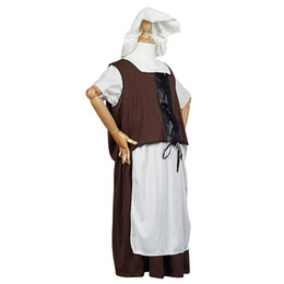 Wholesale Maid Cosplay Costumes - Tudor Poor Girl Costume Kids Victorian Maid Cosplay Children Medieval Fancy Dress Outfit for Halloween Party Carnival Festival