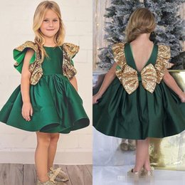 Wholesale First Knot - Dark Green Flower Girls Dresses 2017 With Bow Knot Sequins Backless Satin Girls Pageant Gowns Knee Length Sleeveless First Communion Wear