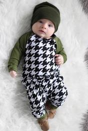 2019 un marchio di abbigliamento New Spring Autunno Bambino neonato Pagliaccetto monopezzo Patchwork pied de poule Camicia a maniche lunghe Toddlers Babies Climb Clothes Rompers sconti un marchio di abbigliamento