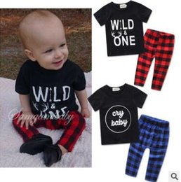 Wholesale Baby Boy Shorts Plaid Pants - Baby Boy Outfits Sets 2017 Casual Outfits Short Sleeve Letter Printed Tops Long Plaid Pants Sets Outwear Baby Boy Clothing Baby Clothes 55