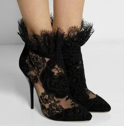 Wholesale British Pumps - British Fashion Women Autumn Booties Sexy Pointed Toe Ankle Boots Luxury Black Lace High Heels Formal Dress Pumps Plus Size 41