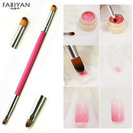 Wholesale Bloom Nail Polish - Wholesale- New 2 Head Pink Handle Brush Acrylic UV Gel Polish Builder Gradient Color Blooming Nail Art Painting Drawing Pen Manicure Tools