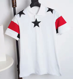 Wholesale Men Shirts Leather Sleeves - Luxury brand clothing embroidery leather star pattern classic lapel Polo shirt men and women uniform style spring and summer new style