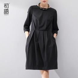 Wholesale three piece knee length dress - Wholesale- Toyouth 2017 Women One-Piece Dress Full Medium Dresses Lady Loose Solid Three Quarter Knee-Length Dress Black
