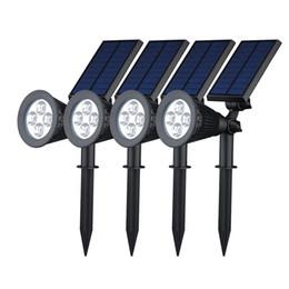 Allée de jardin a conduit l'éclairage en Ligne-Énergie solaire 4 LED lumineuses blanc / blanc chaud RVB 3 couleurs commutateur automatique extérieur jardin sentier parc lampe de pelouse paysage spots