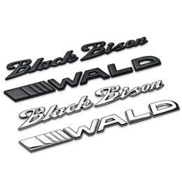 Wholesale Bmw Letters - Black Bison WALD Separate Letters Chrome Metal Zinc Car Styling Refitting Emblem Trunk Badge Logo 3D Sticker for BMW Benz Bison