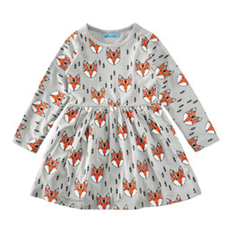 Wholesale Fox Print Clothing - Long sleeve children girls dress full printed fox baby girl cotton dresses kids cute spring autumn clothing