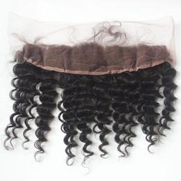 Wholesale Brazilian Vigin Hair - 8A Unprocessed Vigin Peruvian Deep Wave Frontal Lace Closure 13*4 inch Bleached Knots 100% Human Hair Ear To Ear Lace Frontal Closure