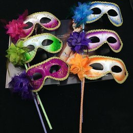 Wholesale Face Mask Cloth - For Women Vizard Masks Plastic On Stick Carnival Halloween Costume Accessories Gold Cloth Coated Flower Side Venetian Mask 3 1gn B R