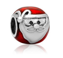 Wholesale Pandora Santa Charm - Wholesale Red Clothes Santa Claus Charm Christmas Father Silver European Charms Beads Fit Pandora DIY Snake Chain Bracelet Fashion Jewelry