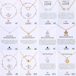 Wholesale Gold Silver Chains Wholesale - Luxury Dogeared Necklaces With Circle Pearls Horseshoe compass lotus flower pendants necklace Gold&Silver chain For women Fashion Jewelry