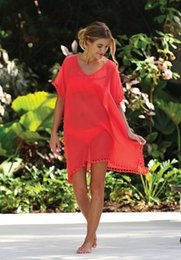 Wholesale Solid Color Swimsuit Cover Ups - Tassel Bikini Cover-ups 2017 Summer Sexy Women V-Neck Solid Beach Dress Swimsuit Loose Beachwear Cover Up