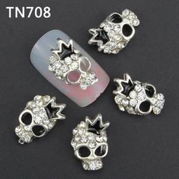 calaveras de diamantes de imitación de aleación Rebajas Venta al por mayor- 10 piezas de plata de lujo del cráneo del clavo herramientas de diamantes de imitación para las uñas de la aleación Glitters DIY 3D Nail Art Decoraciones TN708