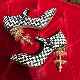 Wholesale Luxury Gems Wedding Shoes - Crystal Pendant Gem Heel Women New Shoe Plaid Leather Strap Luxury Wedding Shoes Nightclub Amazing Chic Shoe 2017