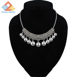 Wholesale Chuncky Jewelry - Choker Hot Sale Big Simulated Pearl Necklace Women Statement Chunky Necklace Jewelry For Women Bib Chuncky Colar Necklace New