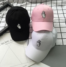 Wholesale Korea Adult - Hot Snapback Hats Unisex Hat Korea ulzzang Finger Love Heart Caps Cute Fresh Women Caps Couple Hats G-Dragon Same
