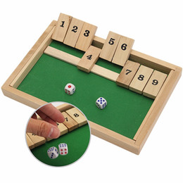 Wholesale Family Pubs - Wholesale- Classic Shut The Box Wooden Board Game Dice Pub Family Kids Toy Christmas Gift Educational Toys Best Gift For Children Kids