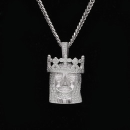 Wholesale White Gold Head Crowns - Hip hop Crowned Jesus Head Necklaces&Pendants Clear Bling Micro Cubic Zircon Top Quality Jewelry With Stainless Steel Cuban Chain