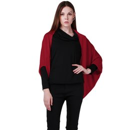 Wholesale Outerwear Ladies Wholesale - Wholesale- Women Outerwear Poncho Sweater Shawl Cape Sleeved Lady Bat Coat Fashion Cashmere Blends Knitted Cardigan BZ852008
