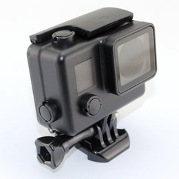Wholesale Mask For Underwater - gopro waterproof case for go pro 3+ 4 underwater 45m cover black diving surfing protective housing case Action Cam Accessories Diving case