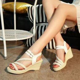 Wholesale Elastic Rubber Straps - 2017 new Bohemian flat sandals female summer exposed toe wedge platform thick bottom high heels women's shoes