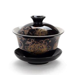 ciotole di porcellana bianco Sconti Ceramica Gaiwan Teaware, gai wan ciotola grande porcellana bianca tazza Zisha Kung Fu tazza da tè dipinta a mano ciotola da tè set da tè resistente al calore