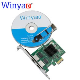Wholesale Pci E Lan Card - Wholesale- Winyao E575T2 Dual-port PCI-E X1 Gigabit Ethernet Network Card 10 100 1000Mbps LAN Adapter Controller Wired intel 82575 E1G42ET