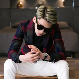 Wholesale Color Block Suit Jacket - 2016 New Men's clothing Fashion Spring plaid color block decoration small suit jacket slim long-sleeve suit singer costumes