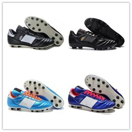 Wholesale Mundial Soccer - Mens Copa Mundial Leather FG Soccer Shoes Discount Soccer Cleats 2015 World Cup Football Boots Size 39-45 Black White Orange botines futbol