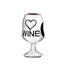 Wholesale Silver Charm Wine Glass - Red Wine Cup Lover Glass Love Heart Cubic Zirconia 100% 925 Sterling Silver Charm Beads Fits Pandora European Charms Bracelet