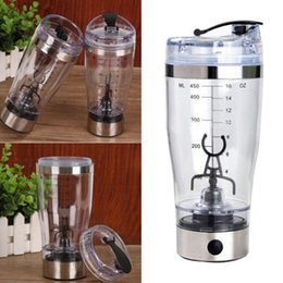 Wholesale Usb Cup Rechargeable - 450ml Electric Protein Shaker Blender USB Rechargeable Vortex Mixer Coffee Mixing Cup Fruit Blender Drink Mixing Cup OOA2713