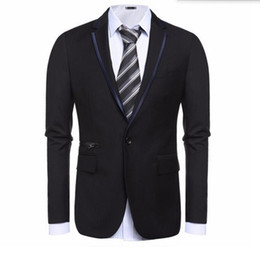 Wholesale Tailor Made Fashion Dresses - Wholesale- Black and grey men suits jacket one button wedding groom dress jacket tailor made fashion formal work suits jacket