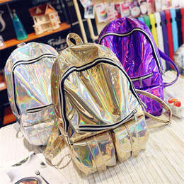 Wholesale Backpack Colorful - Wholesale- Fashion Women Men Silver Laser Backpack men's Bag leather Hologram Multicolor Colorful Rainbow School Girl Metallic Cool Glod