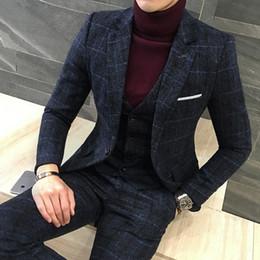 Wholesale Tuxedo Suits Designs - Wholesale- 3 Piece Suits Men British Latest Coat Pant Designs Royal Blue Mens Suit Autumn Winter Thick Slim Fit Plaid Wedding Dress Tuxedos