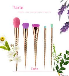 Wholesale Hair Color 12 Set - Tart makeup brushes sets cosmetics brush 5 bright color rose gold Spiral shank make-up brush unicorn screw makeup tools tarte Contour 12