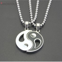 Wholesale Mystical Pendants - 20SETS LOT Stainless Steel Chinese Mystical Yin Yang Tai Chi Matching Pendant (Pair) Wholesale Fast Shipping
