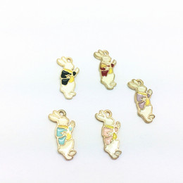 Wholesale Alice Wonderland Charm - Free Shipping 20pcs Zinc Alloy Cartoon Rabbit Alice In Wonderland Enamel Charm Pendant Bracelet Necklace Jewelry DIY Accessories 20*10mm