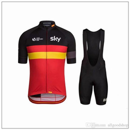 bavettes cyclistes professionnelles Promotion New Sky Cycling Jerseys Short Sleeve Jersey Bib Shorts Set Pro Team Sky Vêtements de cyclisme Maillot Bike / Bicycle Wear To Breathable