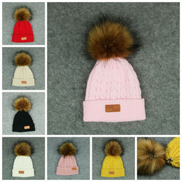 Wholesale Knitted Furs - Kids Pom Pom Knitted Beanie Women Winter Detachable Fur Ball Hat Solid Color Knitted Beanies Hat Skullies Caps OOA3011