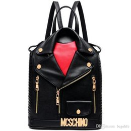 Wholesale High Quality Leather Jackets - New Design Backpack High Quality Men Women PU Leather Jacket Bags Clothing Shoulder Bag Day Clutch Purse Bags Motorcycle Punk